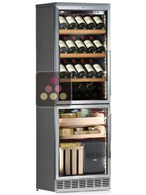 Built-in combination of a wine service cabinet and cigar humidor