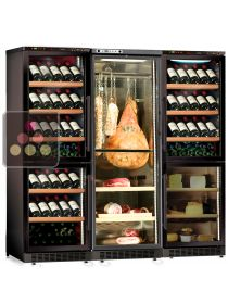 Built-in combination of 3 wine cabinets, a delicatessen cabinet and a cheese cabinet CALICE