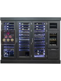 Custom-made ageing wine cabinet with a built-in dual temperature service cabinet and a standing bottles drawer Ma Cave à Vin