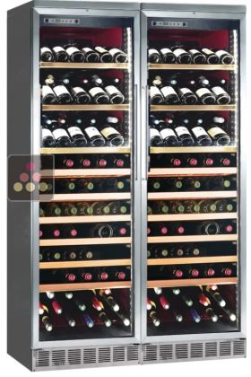 Built-in combination of 2 single-temperature wine cabinets for service or storage