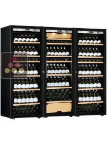 Combination of two single temperature wine cabinets and a 3 temperatures multipurpose wine cabinet - Full Glass door TRANSTHERM
