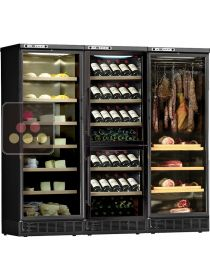 Built-in combination of 1 wine cabinet, a delicatessen cabinet and a cheese cabinet CALICE