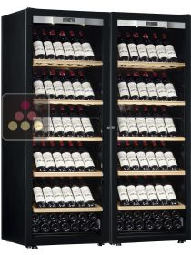Combination of 2 single temperature wine ageing or service cabinet - Full Glass door TRANSTHERM