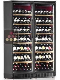 Built-in combination of 2 single-temperature wine cabinets for service or storage CALICE