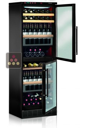 Dual door 2 temperatures wine cabinet for standing bottles - can be fitted