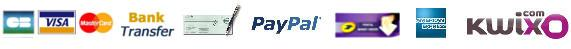 Credit card, Cheque, bank transfer, Kwixo, Paypal