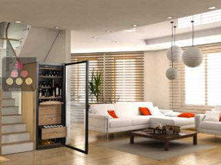 Multi-Purpose wine cabinet for aging & service, whether chilled or at room temperature