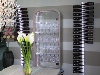 SOBRIO wall Wine Rack in Clear Plexiglass for 28 bottles - lighting LED in option