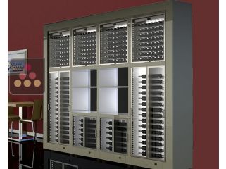 Combination of 8 built in CALICE modular multi purpose wine cabinets with storage units