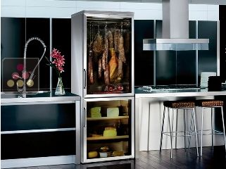 Combined wine service, cold meat and cheese cabinet