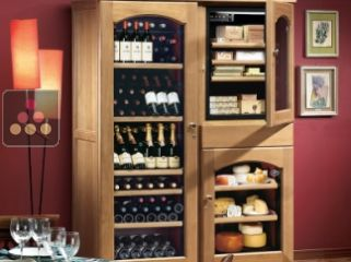 Gourmet combination : wine service cabinet, cheese cabinet & cigar humidor
