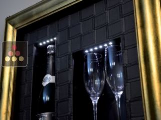 Single temperature silent refrigerated Champagne stand for 1 bottle and 2 glasses