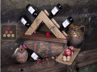 Stone and wooden bottle display unit