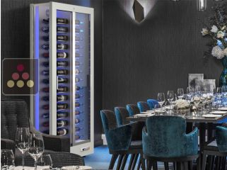 3-sided refrigerated display cabinet for wine storage or service with reduced depth