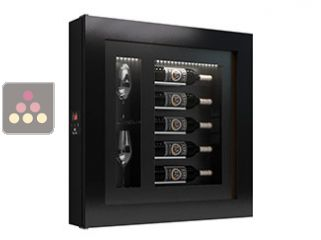 Silent refrigerated wine frame display for 5 bottles and 2 glasses
